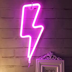 QiaoFei LED Neon Lightning Sign Shaped Decor Light,Wall Decor for Chistmas,Birthday Party,Kids Room, Living Room, Wedding Party Decor (Pink)