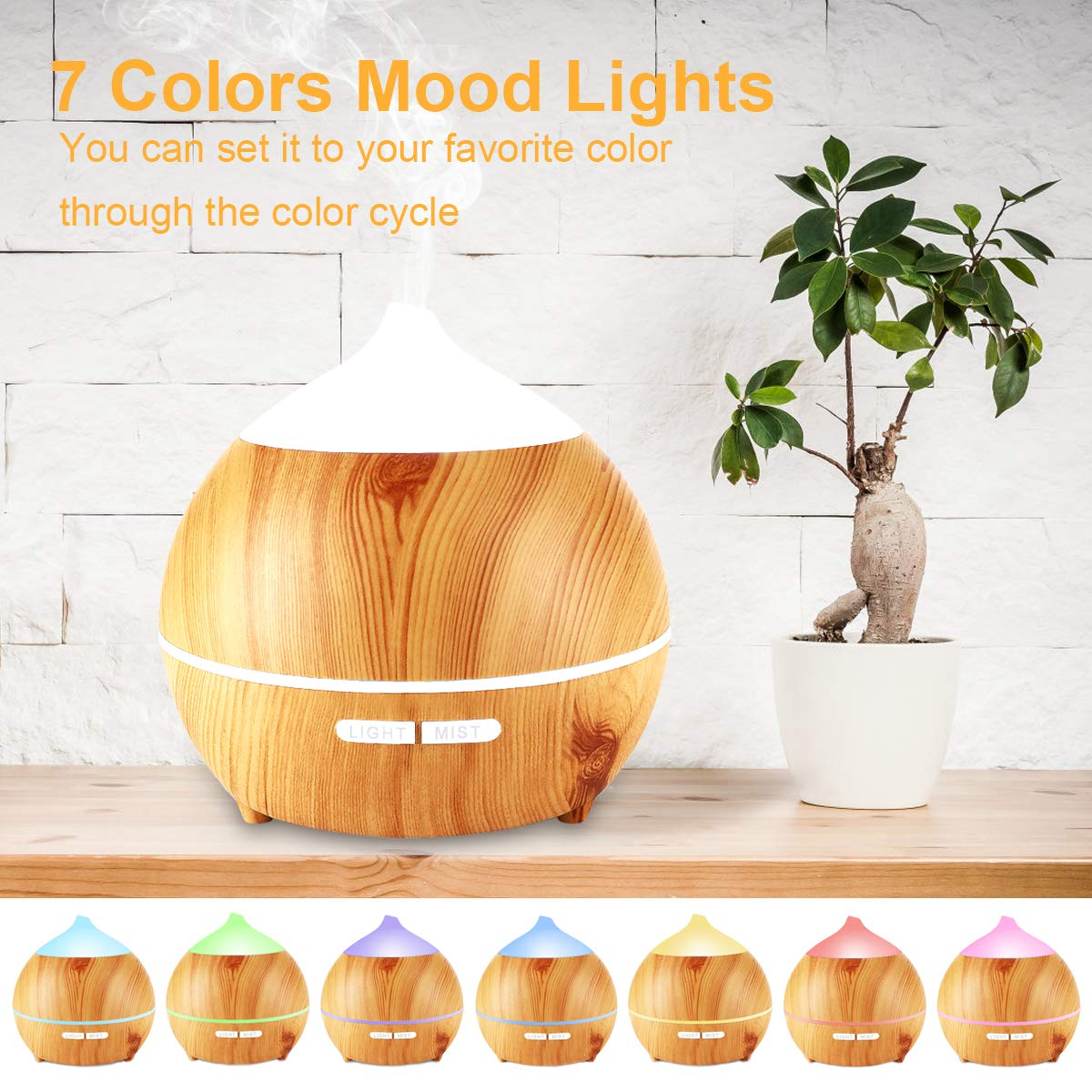 Essential Oil Diffuser XFelectronics 2 pack 250ml Diffusers for Essential Oils Wood Grain Aromatherapy Diffuser Ultrasonic Humidifier with Waterless Auto Shut off, 7 Colors Light for Home Office Baby by Xfelec (Image #4)
