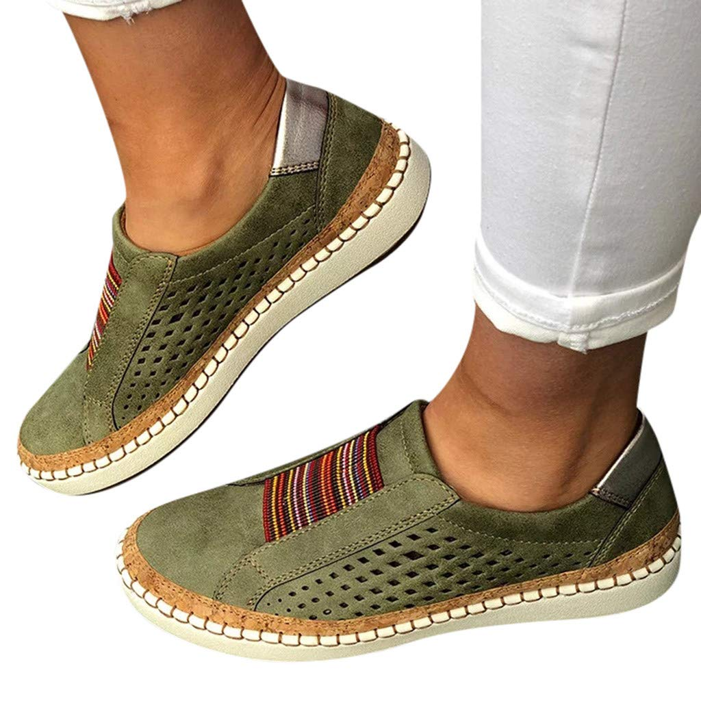 Amlaiworld Women Sport Shoes Fashion Casual Hollow-Out Round Toe Slip On Shoes Flat Sneakers Green by Amlaiworld