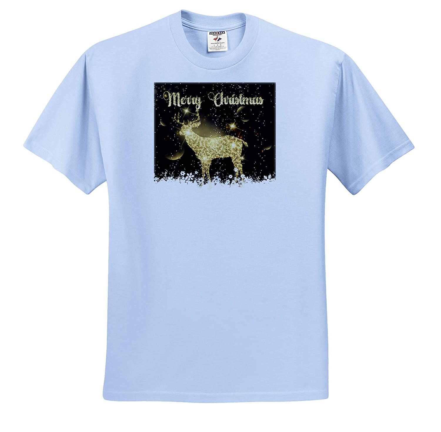 3dRose Sven Herkenrath Christmas Gold Golden Deer for Merry Christmas Xmas Party T-Shirts
