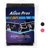 Alien Pros Tennis Racket Grip Tape (6 or 12 or 60 Grips) – Precut and Dry Feel Tennis Grip – Tennis Overgrip Grip Tape…