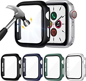 ZEBRE 4-Pack Screen Protector Compatible with Apple Watch SE/Series 6 / Series 5 / Series 4 44mm, Hard PC Tempered Glass Protective Case Cover Compatible with iWatch Series SE/6/5/4