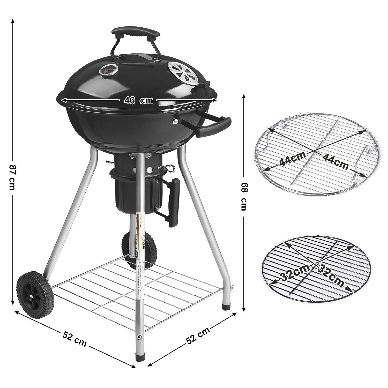 Barbecue /à Gril avec Roues et Couvercle SONGMICS 87 x 52 x 46 cm Barbecue au Charbon de Bois pour Camping et Party GBC18BKV1 /Ø 44 cm Pot /à Cendre Amovible et Prise d/'air