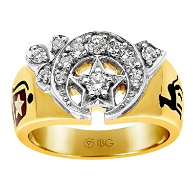 Amazon com: IBG 10k Yellow Gold Diamond Shriner Ring: Jewelry