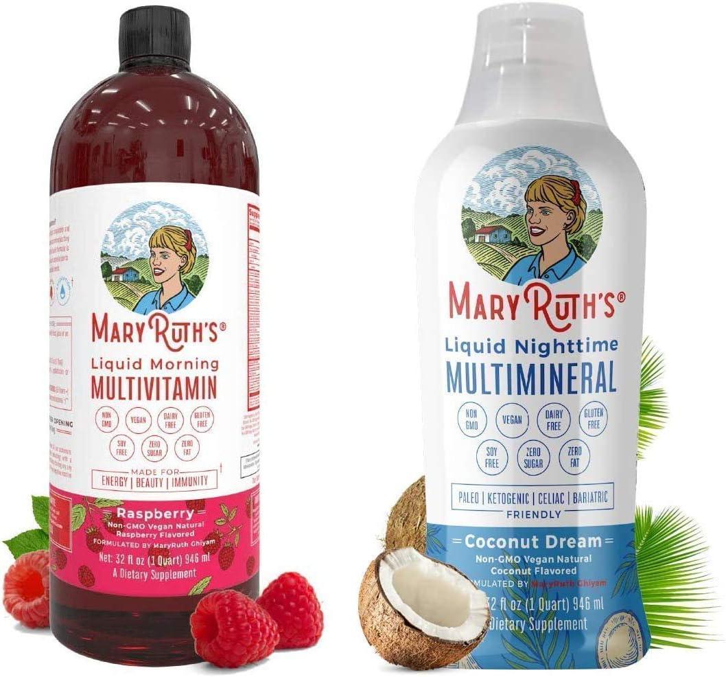 Liquid Multivitamins & Minerals Bundle by MaryRuth's | Morning Liquid Vitamins (Raspberry), 32oz | Liquid Sleep Multimineral (Coconut), 32oz | Vegan, Paleo, Gluten Free, Sugar Free