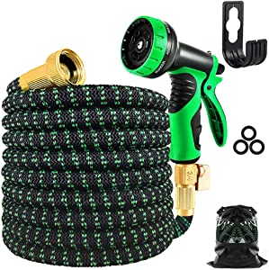 potulas 50 FT Expandable Garden Hose, Upgraded Durable 3750D Fabric Water Hose, Leakproof Lightweight Flexible Hose with 4-Layers Latex and 3/4 Inch Solid Brass Fittings