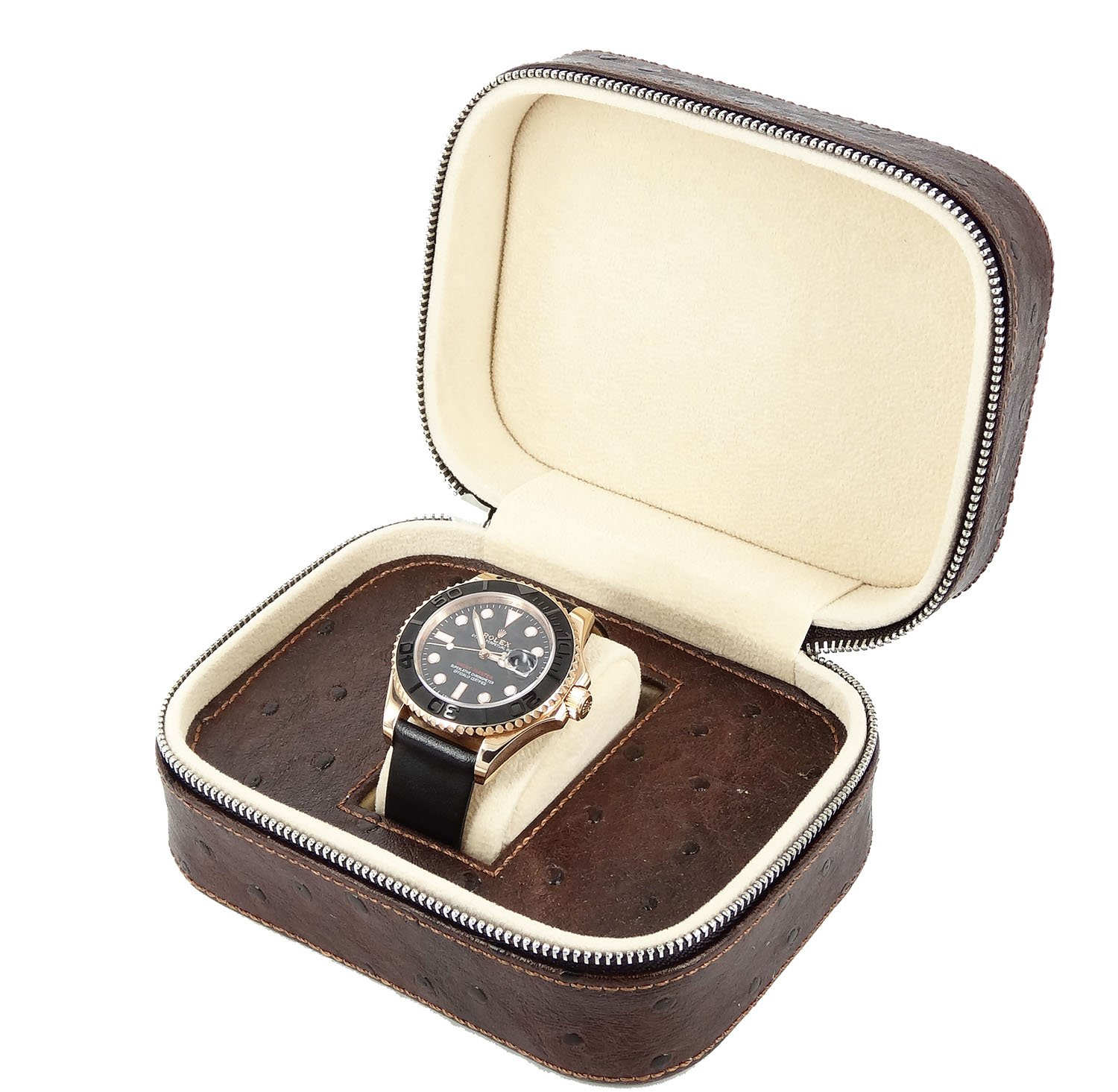 NEW Gift Brown Leather 1-Slot Watch Travel Storage CASE Bag Watch