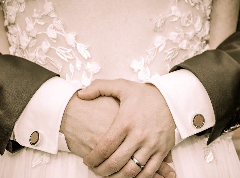 1 Paire Noir Argent Rond Fabriqu/és /À La Main Boutons de Manchette pour Mariage Entreprise NaturSchatulle Bouton de Manchette en Bois pour Homme