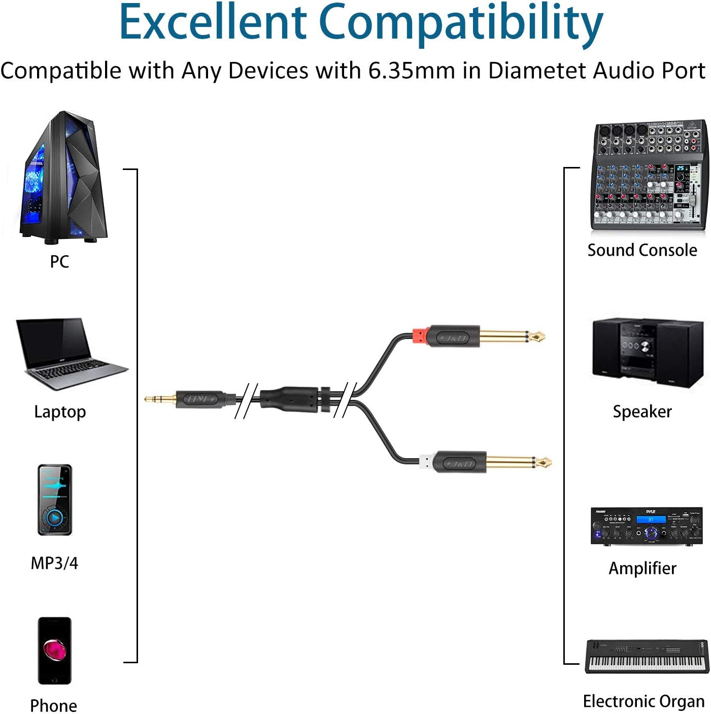 Gold-Plated J/&D 3.5 mm to 2 X 6.35 mm 3.5mm 1//8 TRS Male to Dual 6.35mm 1//4 TS Male Mono Audio Splitter Cable for Smartphone Amplifiers Audiowave Series