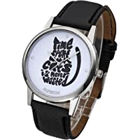 Top Plaza Unique Casual Letters Cat Dial PU Leather Strap Analog Quartz Watch Cute Lovely Cartoon Pattern Wrist Watch
