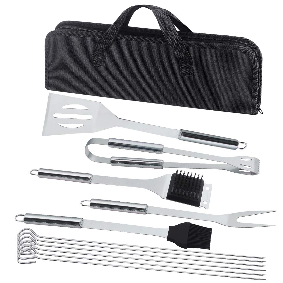 JOANBETE BBQ Grilling Set Stainless Steel Utensils Barbecue Tool Set Grill Accessories with Case - Outdoor Grilling Kit (11-Piece)