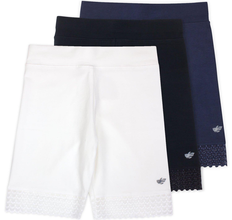 Lucky & Me Jada Little Girls Bike Shorts, Tagless, Soft Cotton, Lace Trim, Underwear, 3 Pack Basics, 9/10