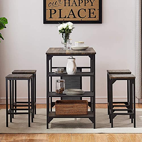 O K FURNITURE 5-Piece Dining Room Table Set, Bar Pub Table Set, Industrial Style Counter Height Kitchen Table with 4 Backless Bar stools for Dining Area, Gray-Brown Finish