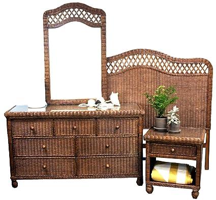 Rattan Man Tropical 4 Piece Wicker Bedroom Set
