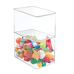 "mDesign Stackable Closet Plastic Storage Bin Box with Lid - Container for Organizing Child's/Kids Toys, Action Figures, Crayons, Markers, Building Blocks, Puzzles, Crafts - 9"" High, 2 Pack - Clear"