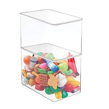 mDesign Juego de 2 cajas de almacenaje con tapa para guardar juguetes - Juguetero de plástico apilable, ideal para la habitación infantil - Práctico ...