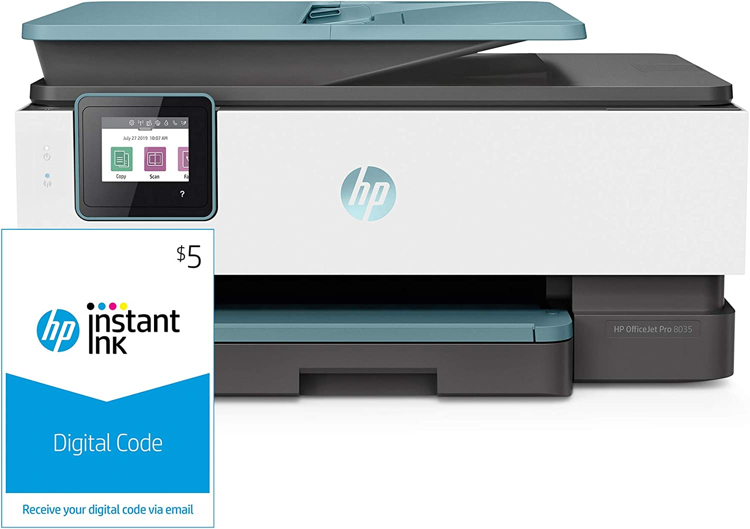 HP OfficeJet Pro 8035 All-in-One Wireless Printer – Oasis (3UC66A) and Instant Ink $5 Prepaid Code