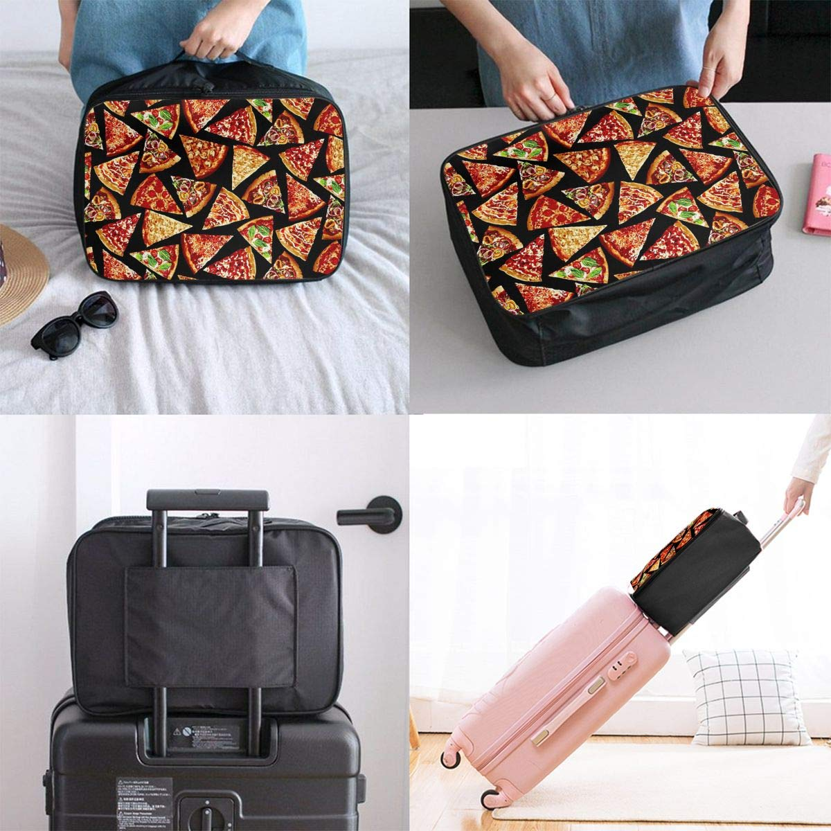 ADGAI Foodie Pizza Slices Canvas Travel Weekender Bag,Fashion Custom Lightweight Large Capacity Portable Luggage Bag,Suitcase Trolley Bag