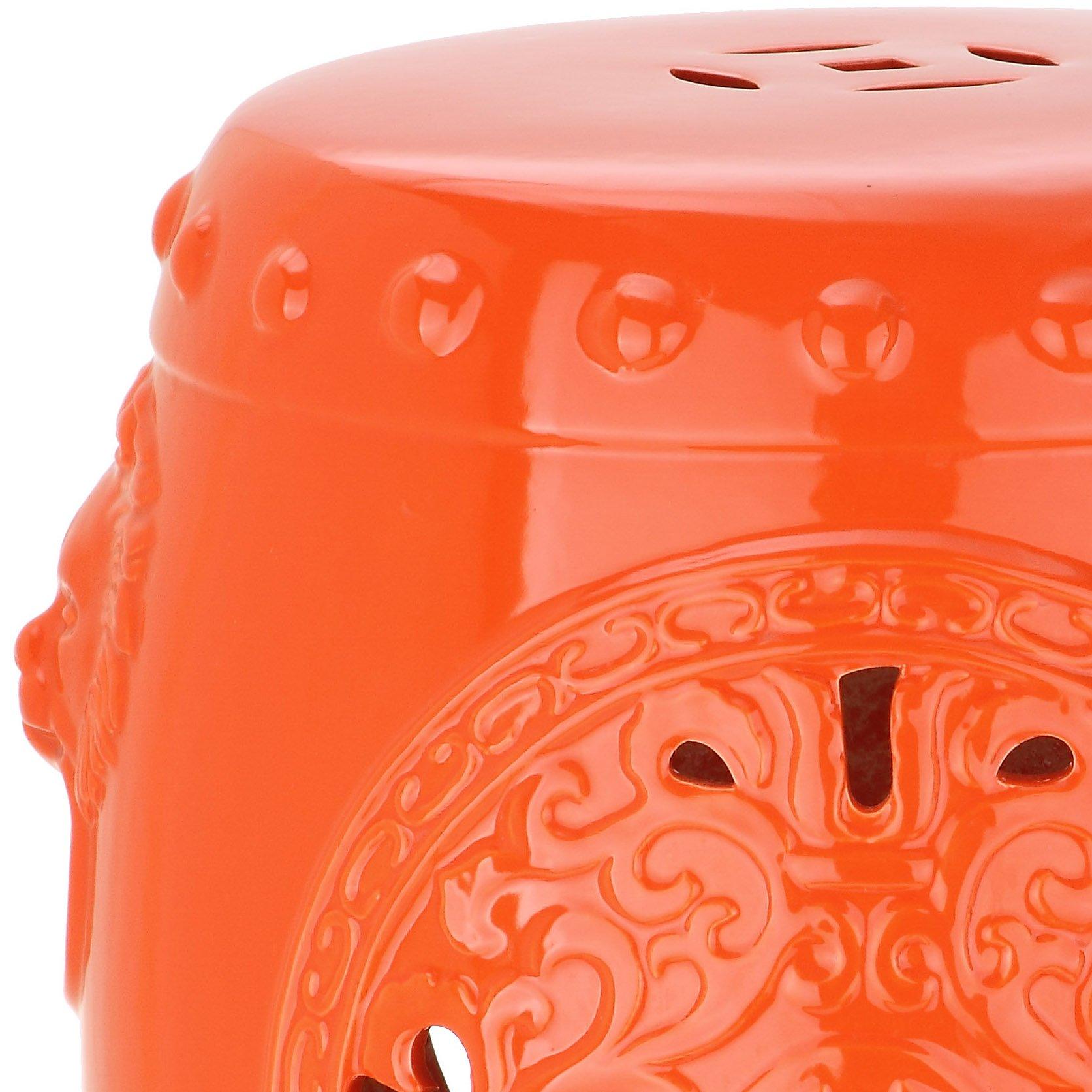 Safavieh Castle Gardens Collection Dragon Coin Orange Glazed Ceramic Garden Stool by Safavieh