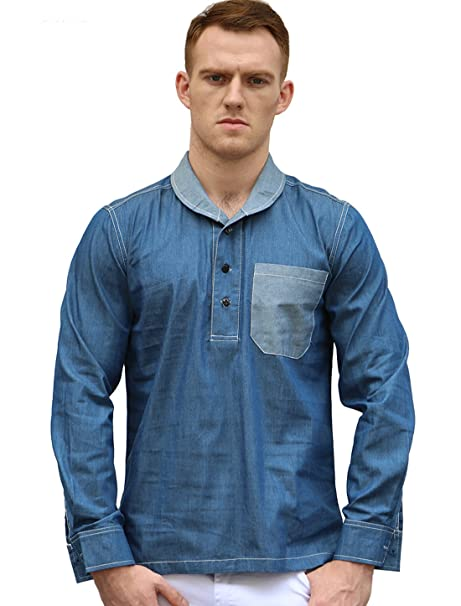 61933c2bc95a4d Allegra K Men Shawl Collar Three-Button Placket Long Sleeves Denim Shirt  Blue L