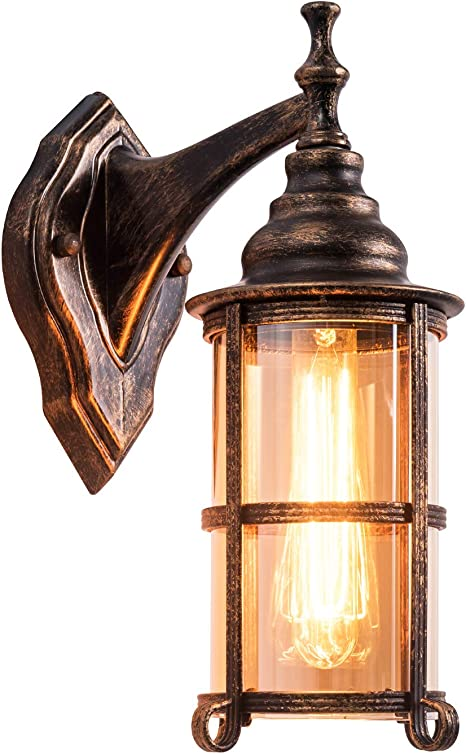 Amazon Com Rustic Outdoor Wall Light Golden Bronze Exterior Wall Sconces Fixture With Amber Glass Shade Industrial Lantern Porch Lighting Waterproof Retro Farmhouse Lamp For Indoor Bedroom Living Room Pack 1 Home Improvement