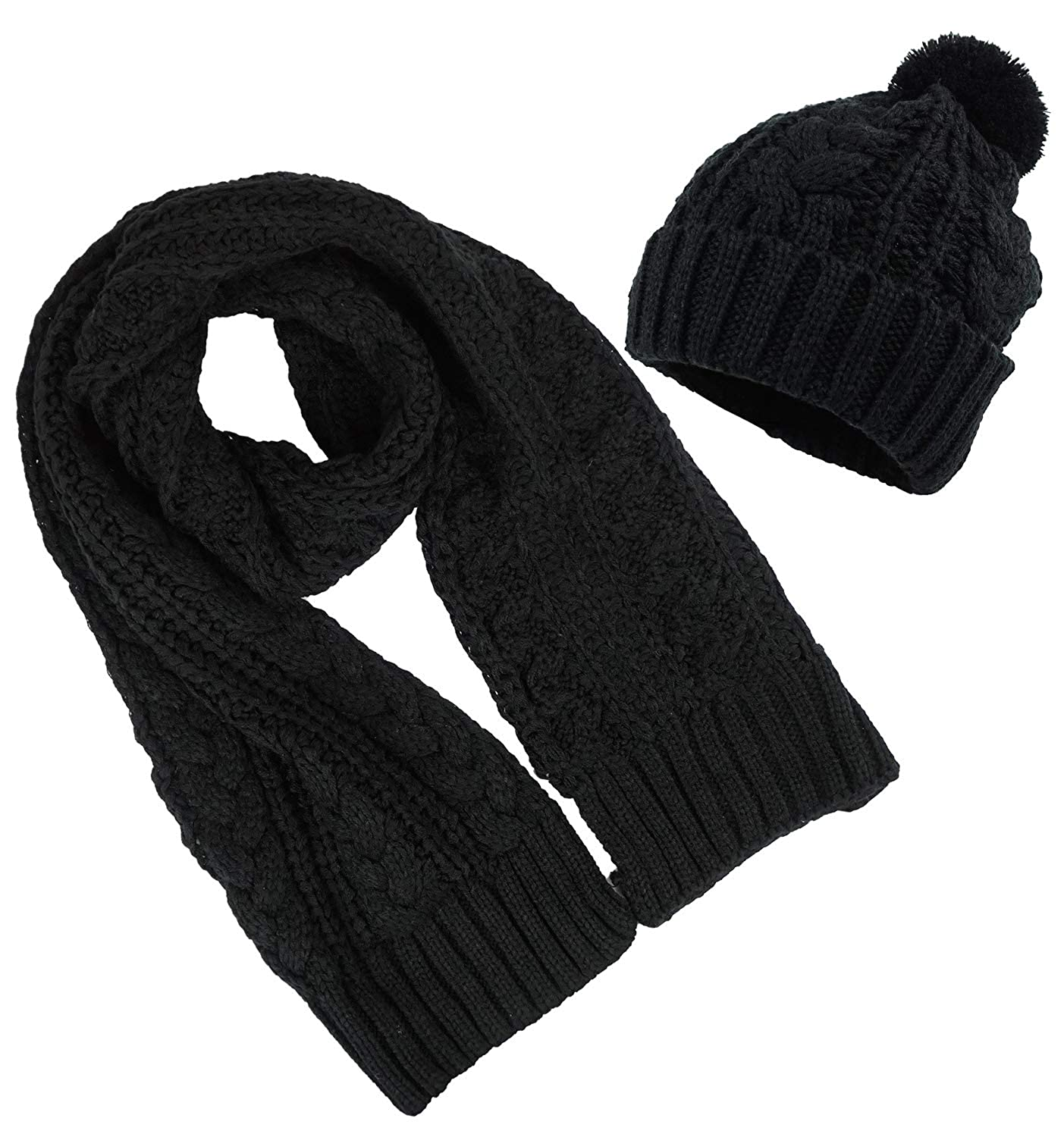 85fefb1509912c Women's Scarf and Hat 2pcs Set Knitted Warm Skullcaps Thicken Beanie Cap,  Black at Amazon Women's Clothing store: