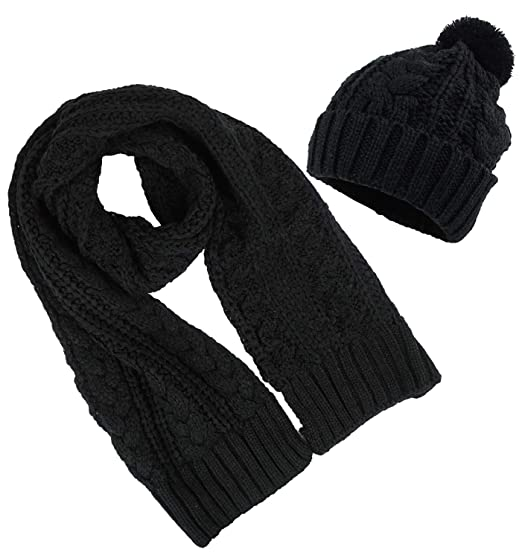 4d04b3ba90f Women s Scarf and Hat 2pcs Set Knitted Warm Skullcaps Thicken Beanie ...