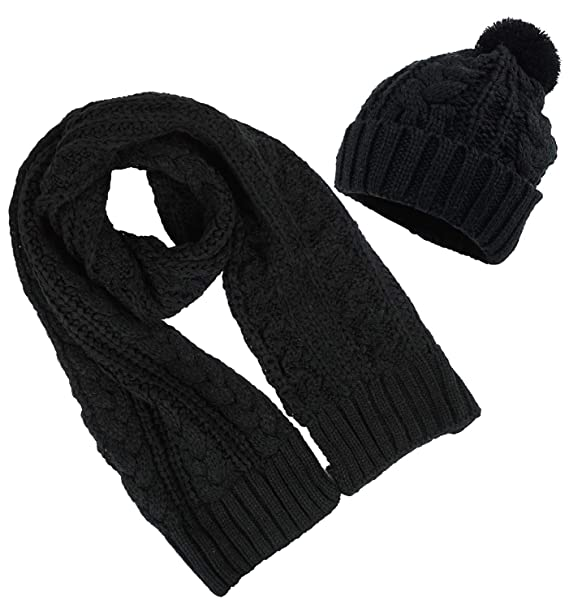 aa2939331ee5da Women's Scarf and Hat 2pcs Set Knitted Warm Skullcaps Thicken Beanie Cap,  Black