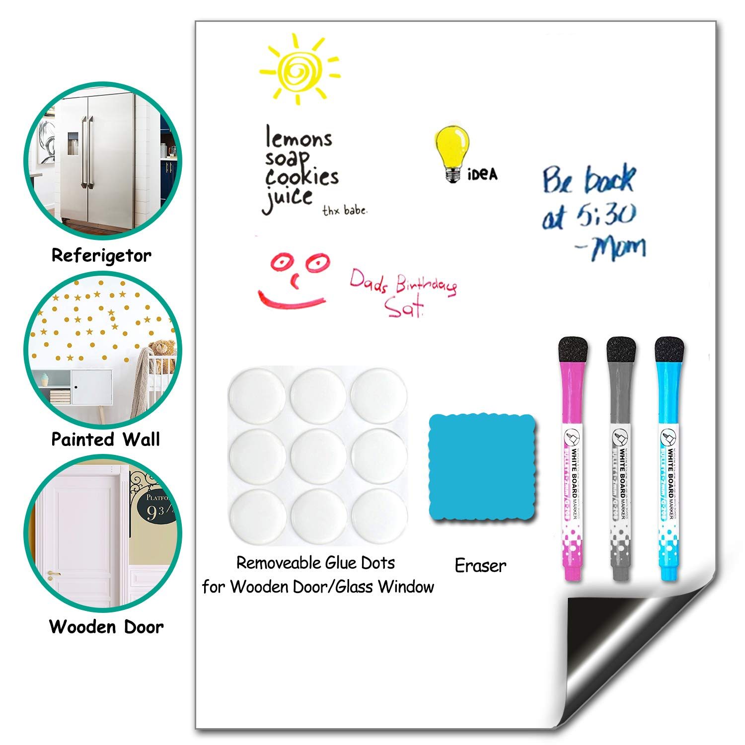 Magnetic Dry Erase Calendar, Fridge Magnetic Whiteboard, Weekly Monthly White Board Planner Set for Refrigerator, Stainless Steel, Door and Wall (17''X12''Whiteboard)