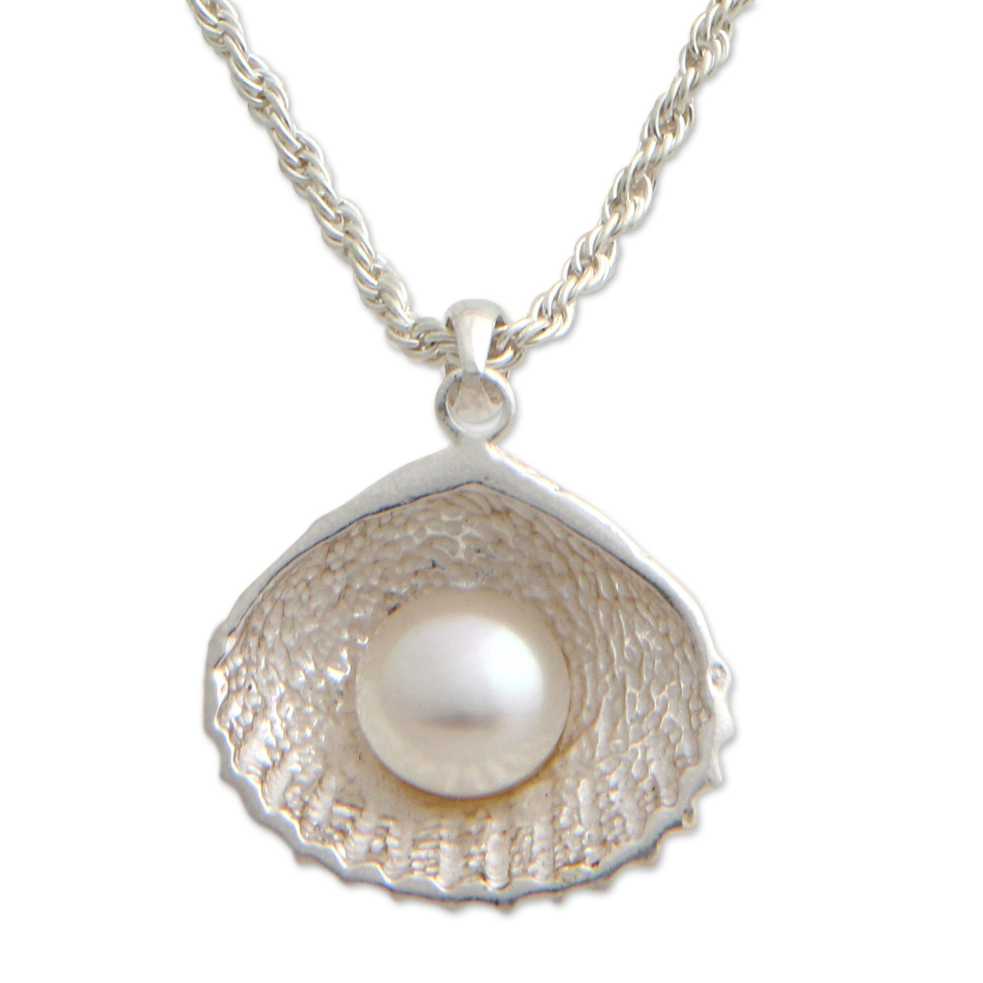 NOVICA White Cultured Freshwater Pearl .925 Sterling Silver Necklace, 19.75'' 'Oyster Secrets'