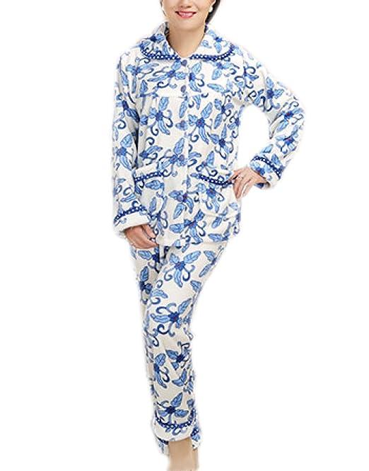 Pijamas De Lujo De La Franela De Las Señoras Pijamas Suaves Y Calientes De La Manga