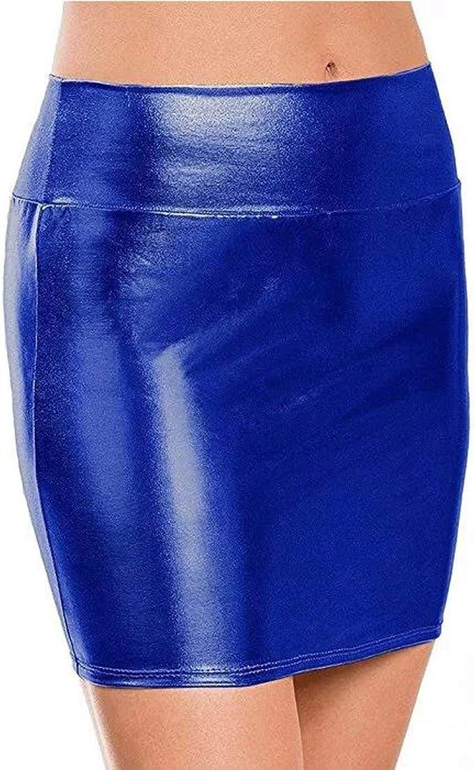 Faldas Elegantes De Las Mini Mujeres Látex Falda En De Ropa ...