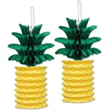 Beistle Pineapple Paper Lanterns, 10-Inch, Green/Yellow, 2 Count