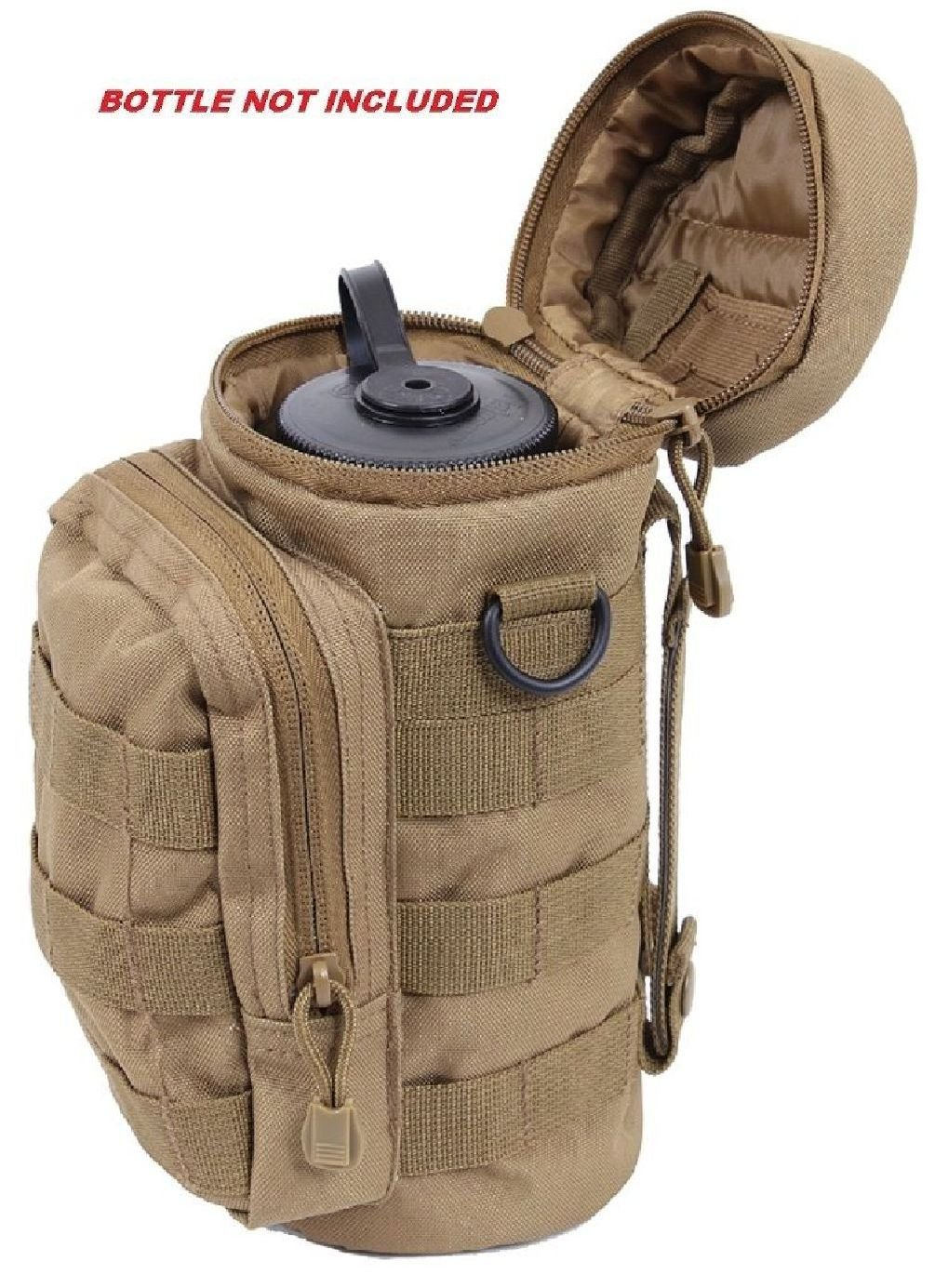 Coyote Brown Military Molle Tactical Travel Water Bottle Pouch Carry Bag