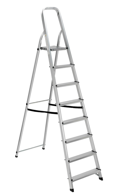 Scala alluminio Everest 8 gradini Per uso domestico e bricolage Portata max 150 kg. Biacchi S1405108