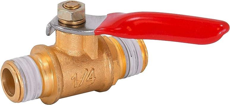 1//4 Male to Male M//M Brass Ball Valve Threaded Shut-Off PT Gas Air Fluid Valves