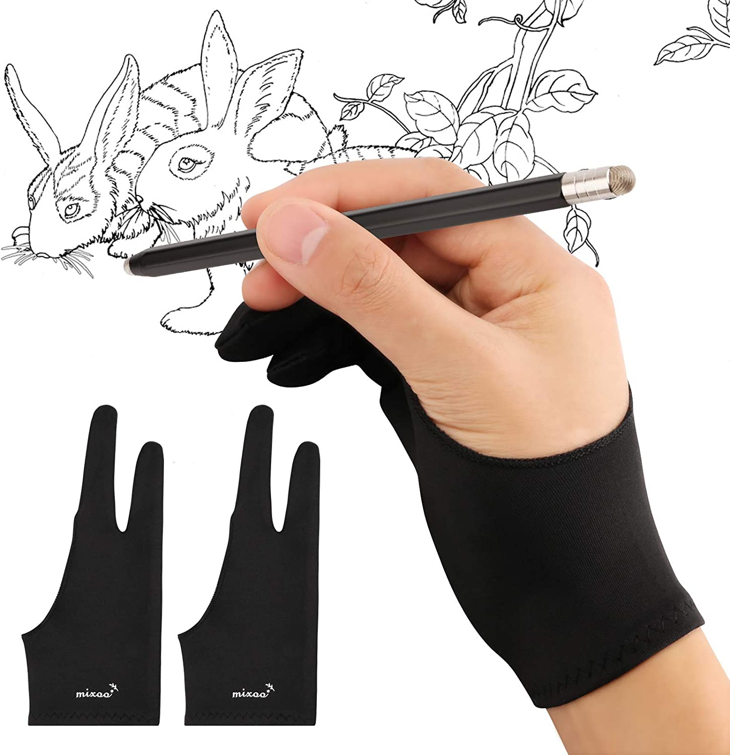 Mixoo Artist Gloves for Drawing Tablet 2 Pack - Palm Rejection Drawing Gloves with Two Fingers for Paper Sketching, iPad, Graphics Painting, Good for Left and Right Hand (M)