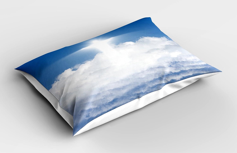 Religiosa almohada Sham por Ambesonne, Vivid silueta de color blanco sobre azul cielo con nubes cielo paraíso espiritual, decorativo impreso funda de ...