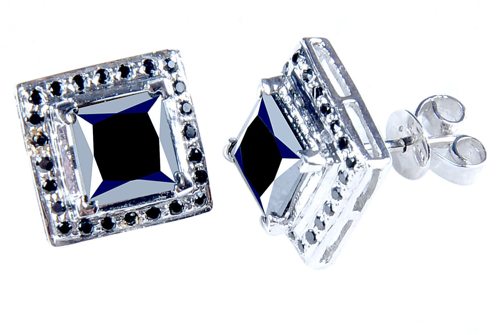 RINGJEWEL 5.55 ct Black Princess Real Moissanite Solitaire Stud Earrings