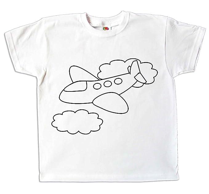 04f6109122923 Pixkids Kinder T-Shirt Flugzeug Comic Zum bemalen und ausmalen mit Vordruck  Spiel Zum Kindergeburtstag