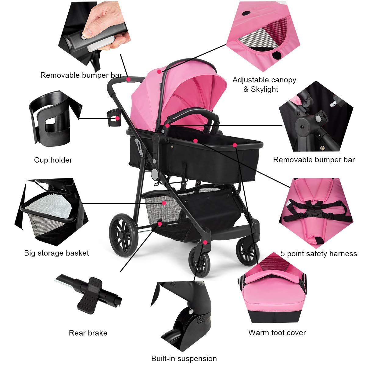 Costzon Baby Stroller, 2 in 1 Convertible Carriage Bassinet to Stroller, Pushchair with Foot Cover, Cup Holder, Large Storage Space, Wheels Suspension, 5-Point Harness (Pink Color) by Costzon (Image #4)