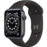 Apple Watch Series 6 (GPS, 44-mm) kast van spacegrijs aluminium - Zwart sportbandje