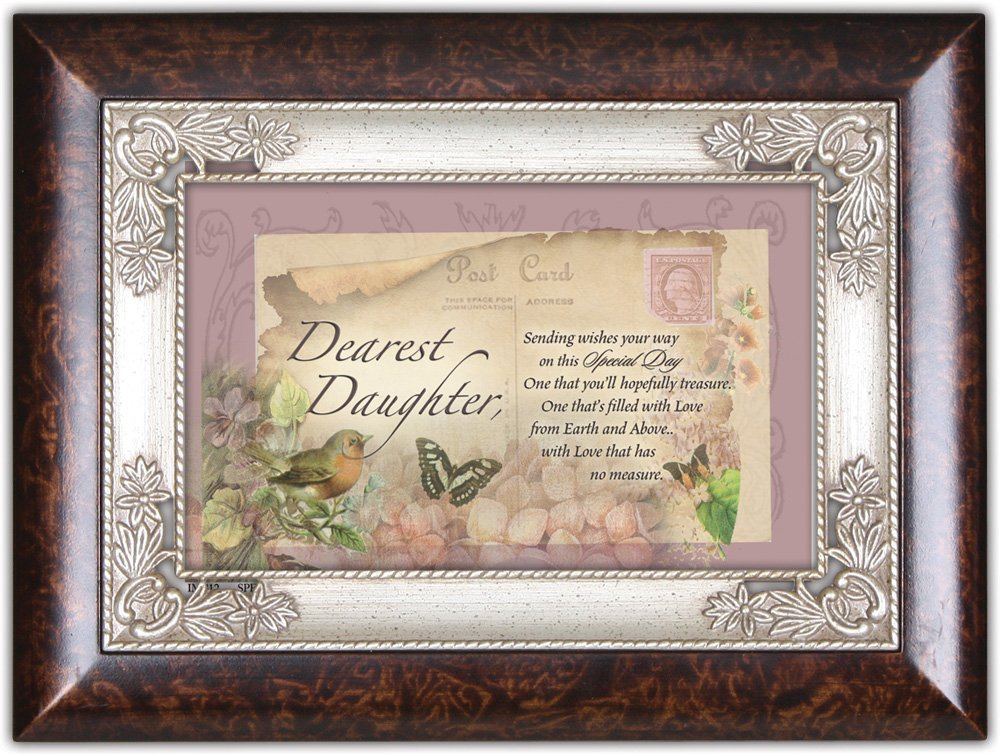 Cottage Garden Daughter Sending You Wishes Burlwood Jewelry Music Box Plays Wind Beneath My Wings