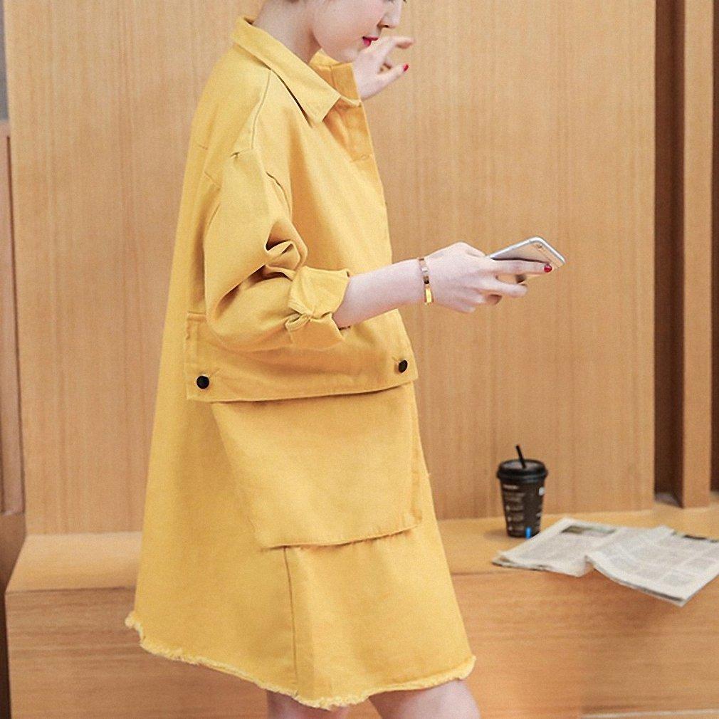 Womens Denim Jacket Solid Big Pockets Single Breasted Coat Loose Long at Amazon Womens Coats Shop