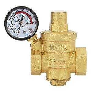 Pressure Reducing Valve, DN20 3/4inch Brass Water Pressure Reducing Valve 3/4'' Adjustable Water Control Pressure Regulator Valve Thread with Gauge Meter