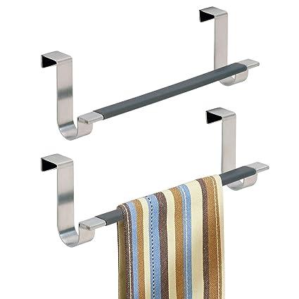 mDesign Juego de 2 toalleros de baño sin taladro – Práctico toallero  colgante para puertas – 670e0ac0beae