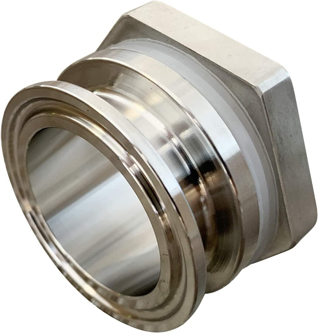 "TRUE Weldless 2"" TC Triclamp Bulkhead Compression Fitting 304 Stainless Steel Homebrew Kettle Bulkhead"