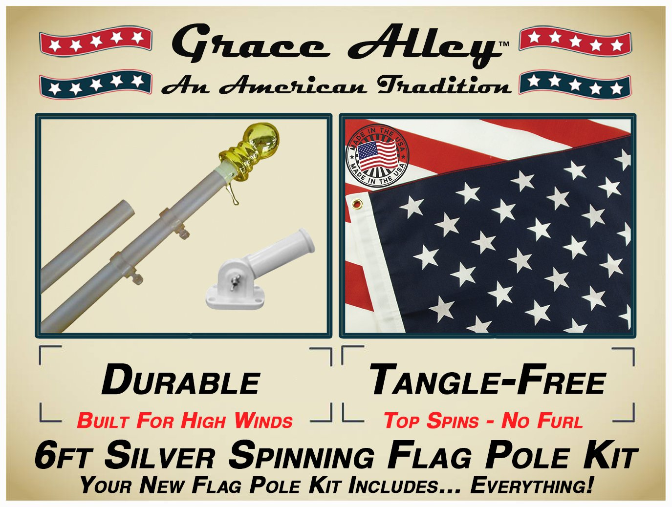 Grace Alley Flag Pole Kit: Tangle Free Flag Pole Kit Includes US Flag - Made in USA, Outdoor Flag Pole and Flag Pole Bracket. Great for Residential or Commercial. Brushed Aluminum Flag Pole Kit