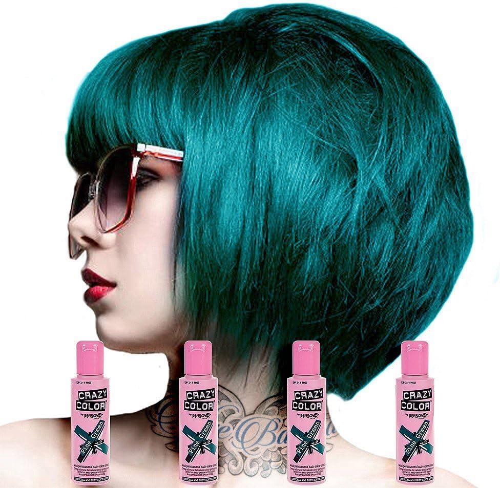 Pack De 4 x Tinte Capilar Semi-Permanente Crazy Color 100ml (Pine Green)