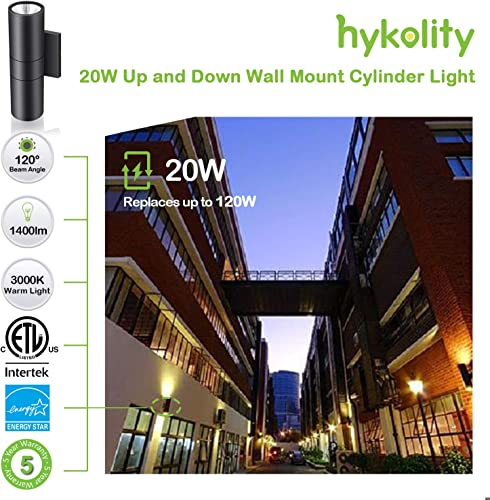 20W Outdoor LED Wall Mount Cylinder Porch Light, Aluminum Finish Wall Sconce Lighting, 1400lm, 3000K Waterproof Up and Down Architectural Fixture, for Door Way, Corridor, Garage – 2 Pack